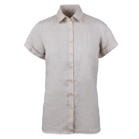 Steffi Short Sleeve Linen Shirt Light Beige