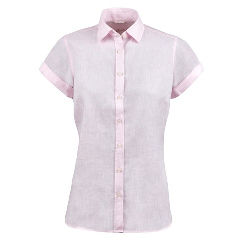 Light Pink Feminine Linen Shirt, Short Sleeves