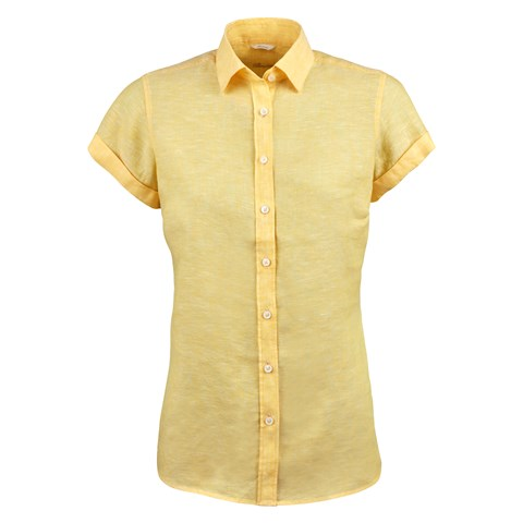Yellow Feminine Linen Shirt, Short Sleeves