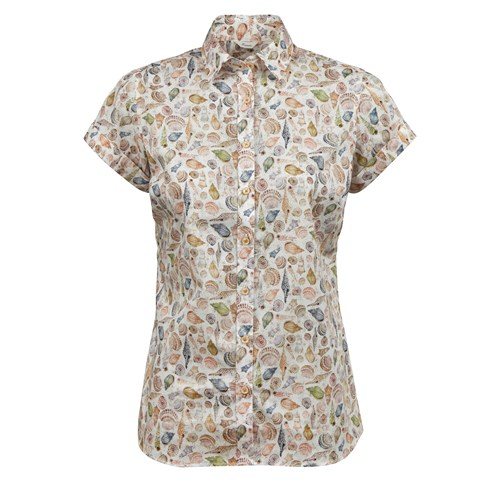 Seashell Patterned Feminine Shirt, Short Sleeves