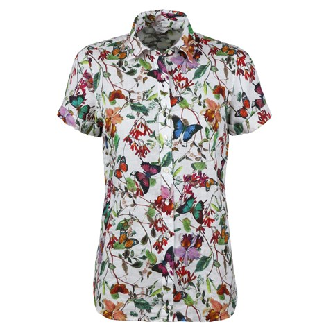 Steffi Short Sleeve Linen Shirt Butterfly
