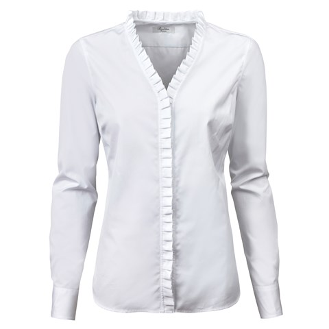 White Feminine Blouse With Frill Details