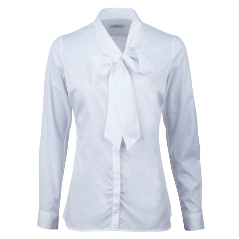 White Feminine Blouse Low Bow Collar