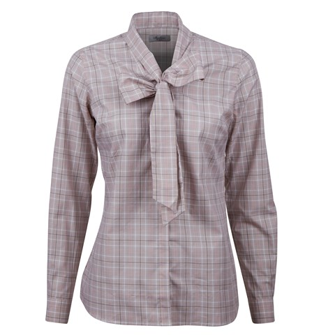Checked Feminine Blouse W Bow