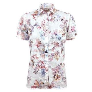 Spring Flowers Linen Shirt, Short Sleeves