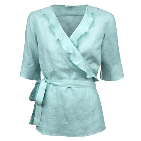 Turquoise Feminine Blouse With Frill Details