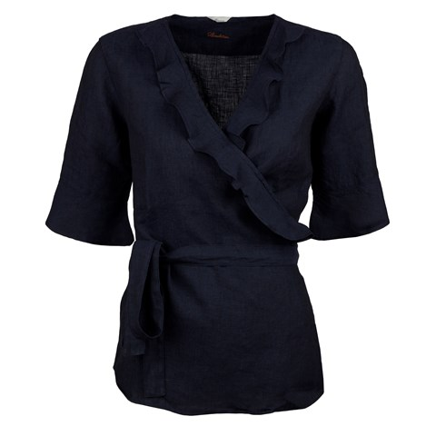 Navy Feminine Blouse With Frill Details