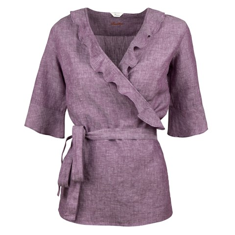 Purple Feminine Blouse With Frill Details