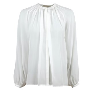 White Sheer Silk Blouse