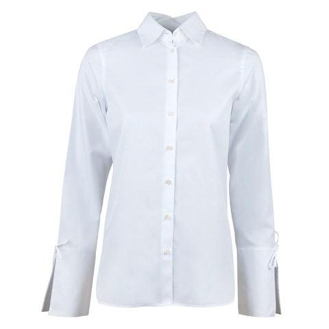 White Feminine Shirt With Neck Details