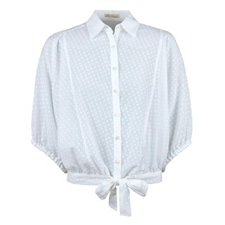 White Dotted Shirt With Balloon Sleeves