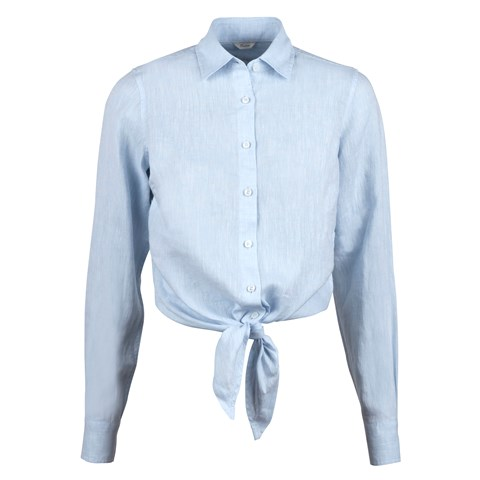 Light Blue Linen Waist Tie Shirt