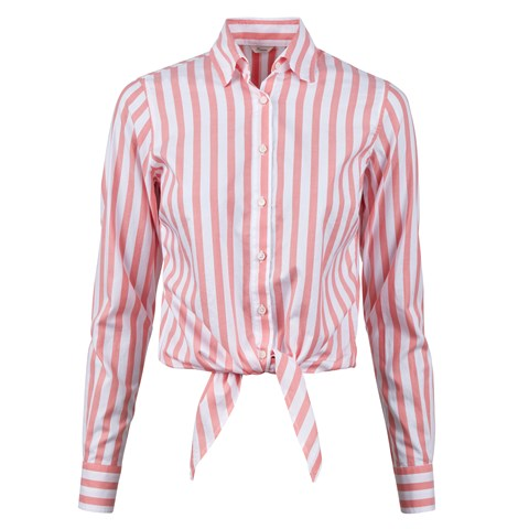 Coral Striped Waist Tie Shirt