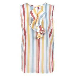 Striped Sleeveless Blouse W Frill