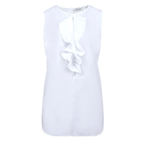 White Sleeveless Blouse W Frill