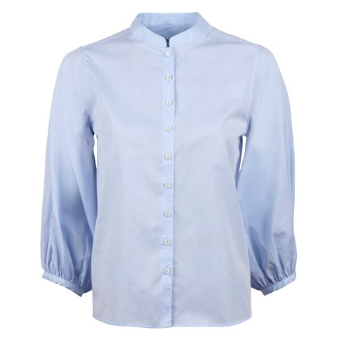 Light Blue Blouse Wide Puff Sleeves