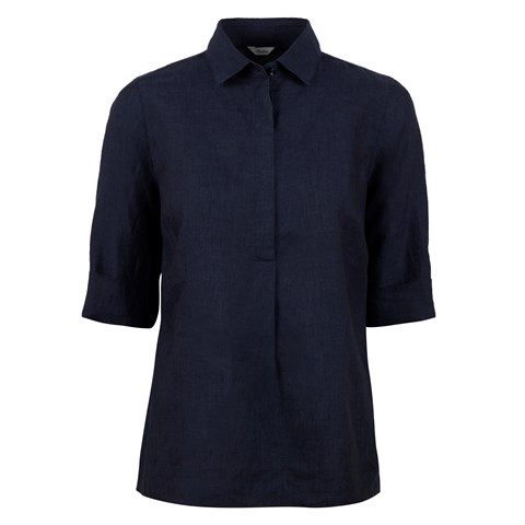 Navy Linen Pop-Over
