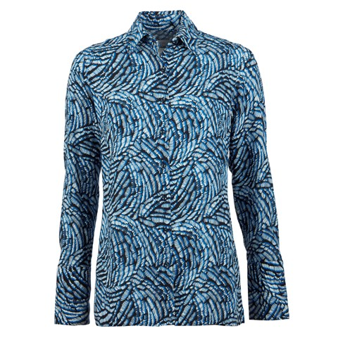 Blue Patterned Shirt W Side Overlap