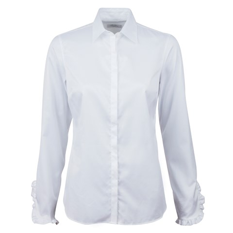 Feminine Shirt With Frill Cuffs White