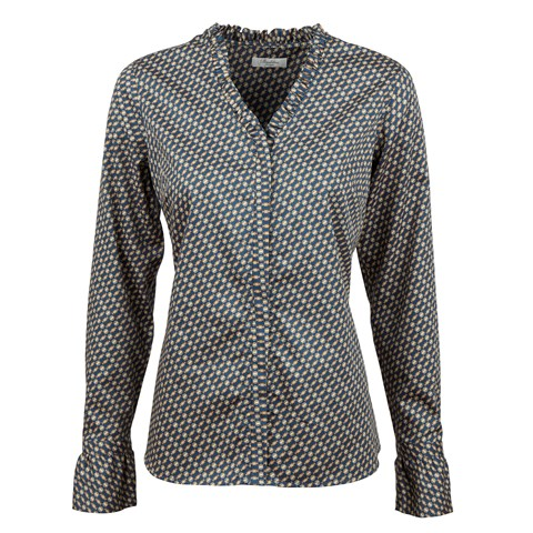 Patterned Feminine Blouse With Frill
