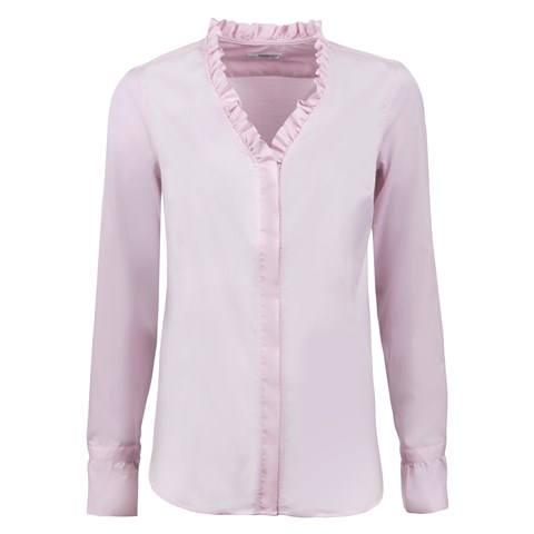 Pink Feminine Blouse With Frill Details