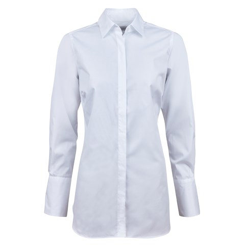 White Poplin Long Shirt