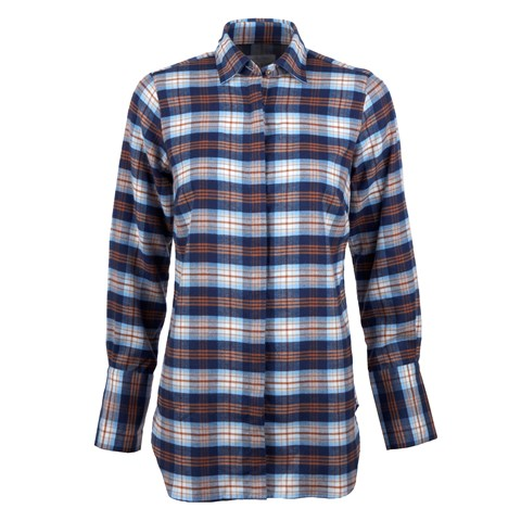 Blue Checked Flannel Long Shirt