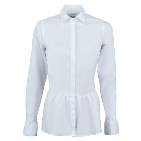 White Poplin Shirt With Frill
