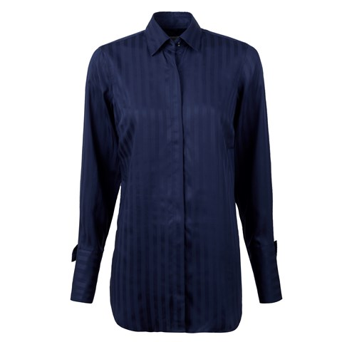 Navy Feminine Long Shirt