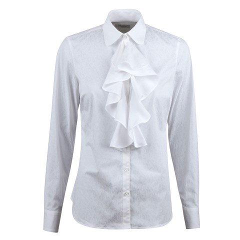 White Feminine Blouse With Front Frill