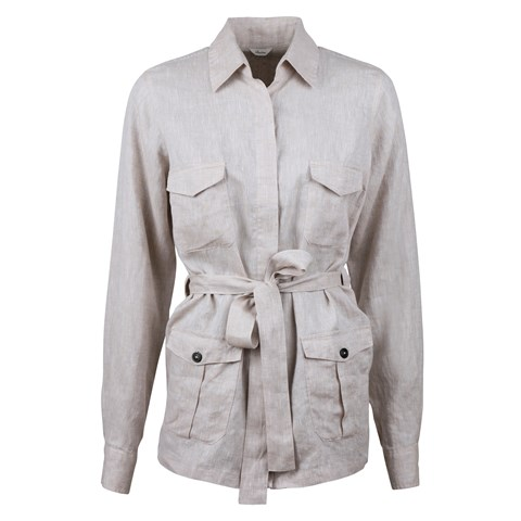Ally Linen Overshirt Light Beige