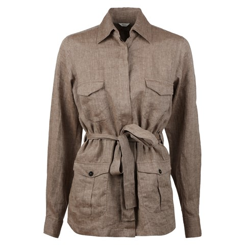 Ally Linen Overshirt Brown