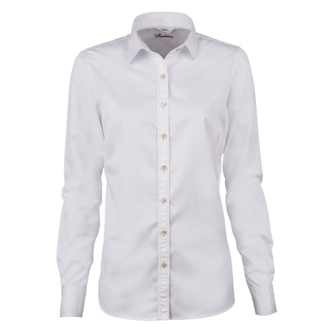 White Casual Feminine Shirt In Superior Twill