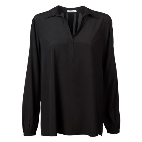 Black Blouse With Backpleats