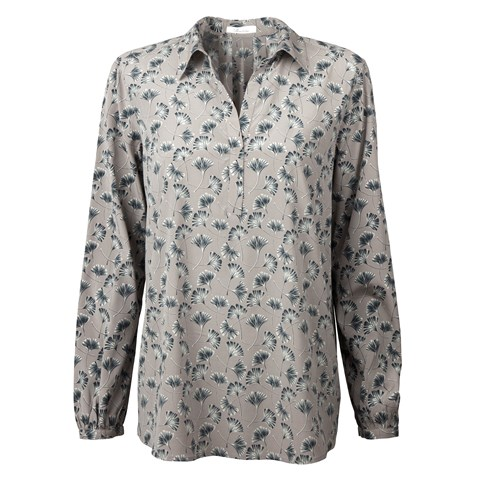 Leaf Patterned Blouse With Backpleats