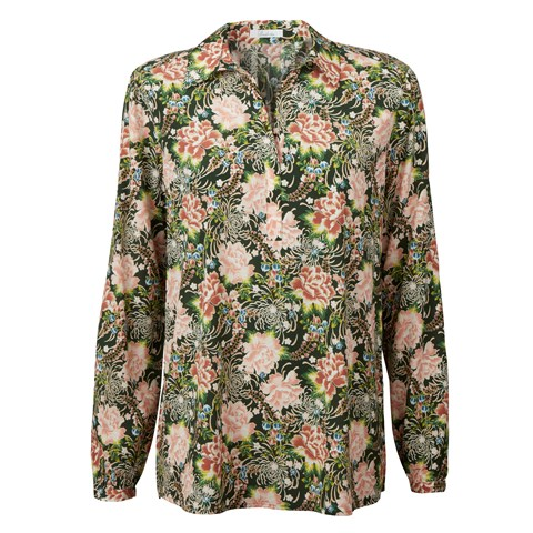 Green Floral Blouse With Backpleats