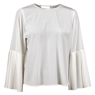 White Silk Blouse With Pleated Sleeves