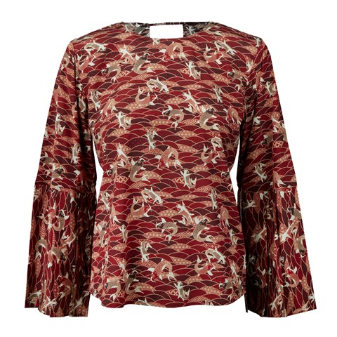 Red Patterned Silk Blouse With Flared Sleeves