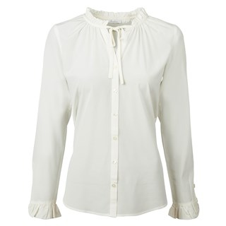 Feminine Silk Blouse With Ruffle Neckline