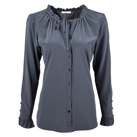Grey Feminine Silk Blouse With Ruffle Neckline