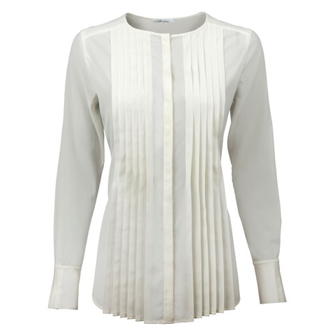 Off-White Silk Feminine Blouse With Pleated Front