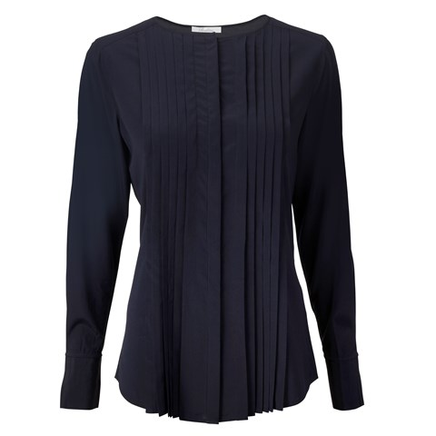 Navy Silk Feminine Blouse With Pleated Front