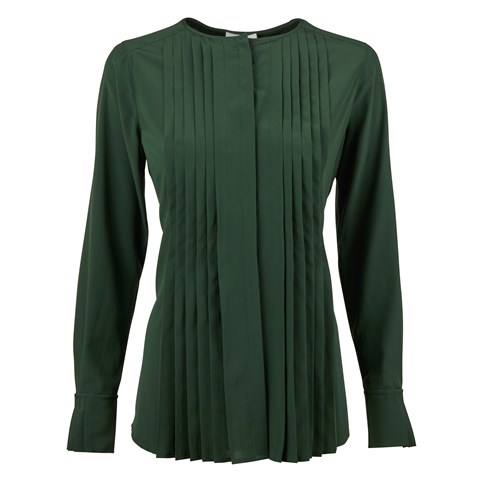Green Silk Feminine Blouse With Pleated Front