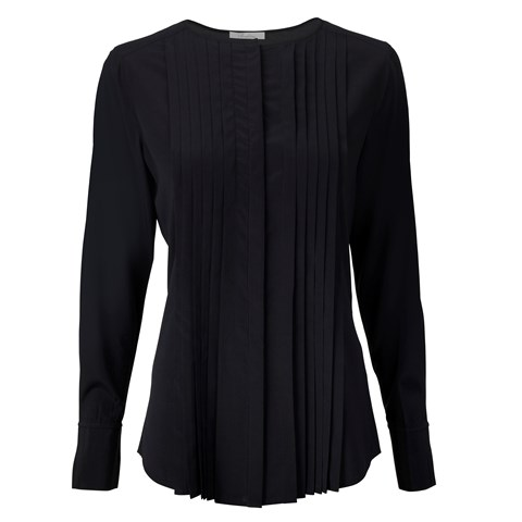 Black Silk Feminine Blouse With Pleated Front