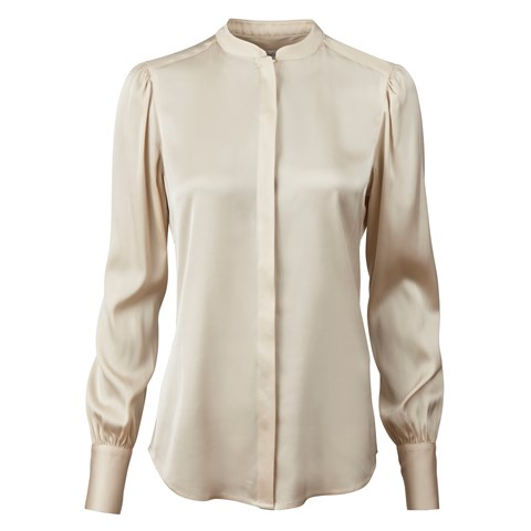 Champagne Silk Blouse With Puff Sleeve