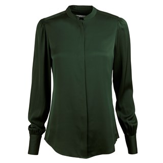 Pine Green Silk Blouse With Puff Sleeve