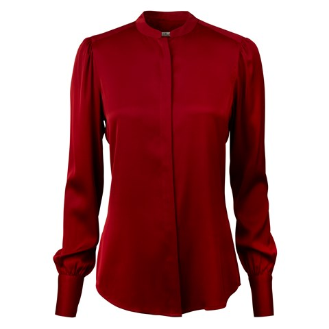 Red Silk Blouse With Puff Sleeve