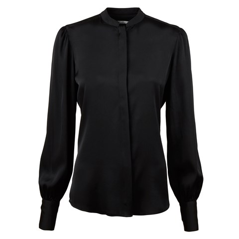 Black Silk Blouse With Puff Sleeve