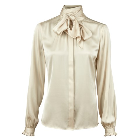 Champagne Feminine Silk Blouse With Bow Collar