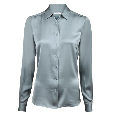 Sea Blue Feminine Silk Shirt